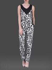 Monochrome Printed  Sleeveless Poly-crepe Jumpsuit - AARDEE
