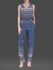 Navy Blue Polka Dots Sleeveless Poly-crepe Jumpsuit - AARDEE
