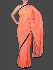 Coral Chiffon Saree With Gota-Patti Work - Saree Ghar