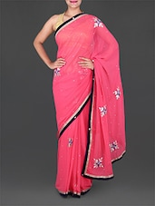 Pink Chiffon Saree With Gota-Patti Work - Saree Ghar