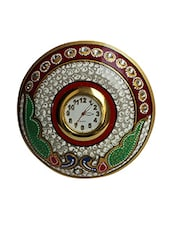 Multicolored Embellished And Painted Marble Round Wall Clock - By