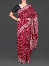 Maroon Floral Printed Mulmul Cotton Saree - Aaradhya Creation
