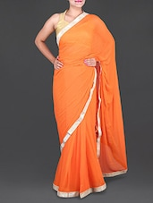 Orange Chiffon Saree With Gold Border - Saree Street