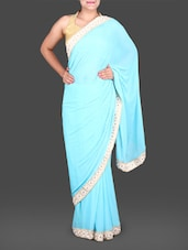 Aqua Blue Chiffon Saree With Floral Border - Saree Street