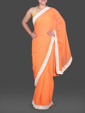 Orange Chiffon Saree With Floral Border - Saree Street