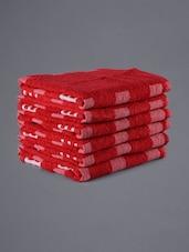 Set Of 6 Red Geometric Pattern Hand Towels - Eurospa