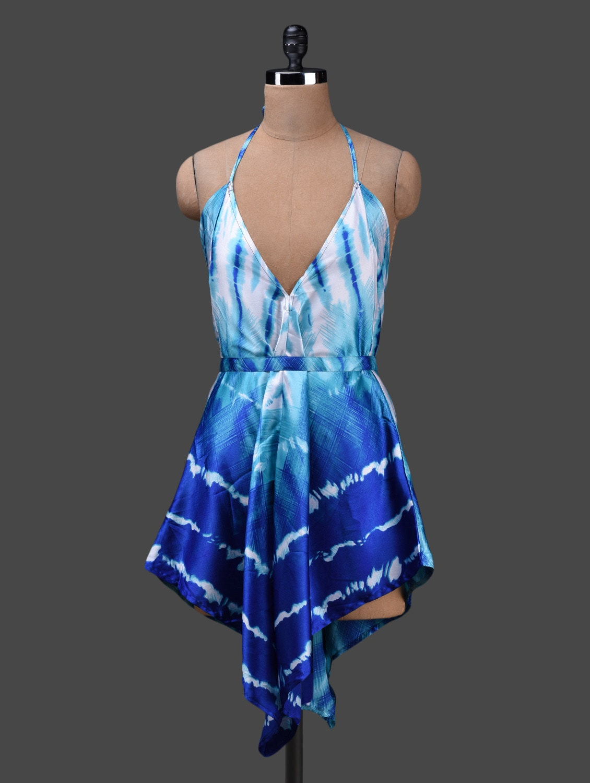 Halter Neck Printed Asymmetrical Dress - Albely