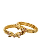24k gold plated and embellished bangles set of 2 -  online shopping for Bangles