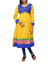 Yellow Anarkali Kurta With Embroidered Lace-work - KIFA