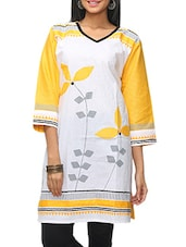Yellow And White Cotton Printed Kurta - KIFA