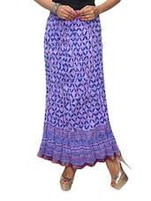 Purple Printed Cotton Long Skirt - KIFA