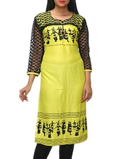 Yellow Printed Kurti With Black Sleeves - KIFA