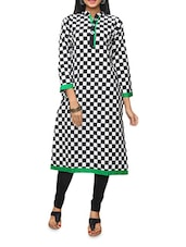 Black Checked Kurti With Floral Embroidery - KIFA