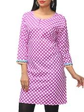 Lilac Polka Dots Printed Cotton Kurti - KiFa Lifestyle