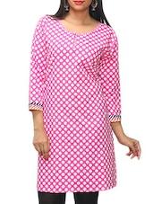 Pink Polka Dots Printed Cotton Kurti - KIFA