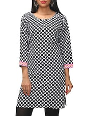 Black Polka Dots Printed Cotton Kurti - KiFa Lifestyle