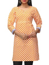 Orange Polka Dots Printed Cotton Kurti - KiFa Lifestyle