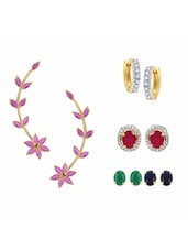 Multi Colored Gold Plated Studs Earring - By