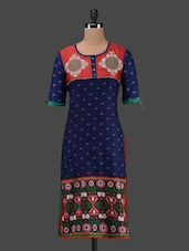 Blue Round Neck Embroidered Kurta - MOTHER HOME