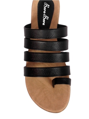 7ff726f09 Buy Black Strappy Faux Leather Sandals for Women from Bora Bora for ₹992 at  34% off