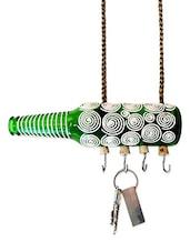 White Spiral Painted Bottle Key Hanger - Kavi The Poetry Art Project