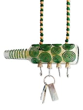Green Spiral Painted Bottle Key Hanger - Kavi The Poetry Art Project
