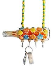 Multi Colour Flowers Printed Bottle Key Hanger - Kavi The Poetry Art Project