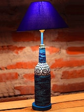 Beads Embellished Glass Bottle Table Lamp - Kavi The Poetry Art Project