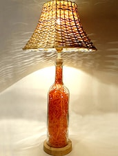 Orange Hay Filled Glass Bottle Table Lamp - Kavi The Poetry Art Project