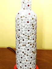 Colourful Etchings Glass Bottle Table Lamp - Kavi The Poetry Art Project