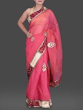 Pink Cotton Net Saree With Bandhni Border - Creation Sarees