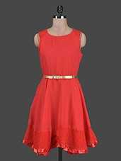 Red Sleeveless Georgette Belted Dress - CINDRELLA