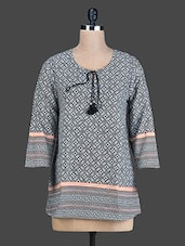 Black Geometric Printed Short Cotton Kurta - By