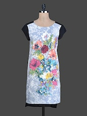 Grey Floral Printed High-Low Cotton Kurti - Instacrush