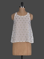 Off White Sheer Sequined Sleeveless Top - By