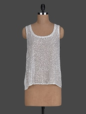 Off White Sheer Sequined Top - Instacrush
