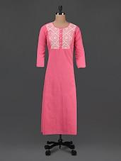 Round Neck Three Quarter Sleeve Long Kurta - Bhama Couture