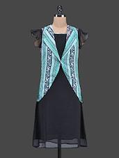 Black Dress With Paisley Printed Green Jacket - Ayaany