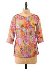 Floral Printed Boat Neck Georgette Top - Fashion205