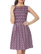 Purple Floral Print Cotton Short Dress - From The Ramp