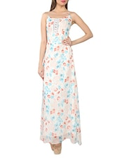 Off-white Floral Print Chiffon Maxi Dress - From The Ramp