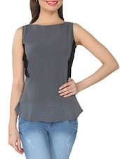 Grey Boat-neck Sleeveless Georgette Top - From The Ramp