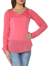 Pink Cut-out Sleeves Crepe Top - From The Ramp
