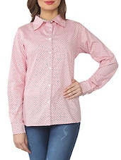 Pink And White Printed Cotton Shirt - From The Ramp