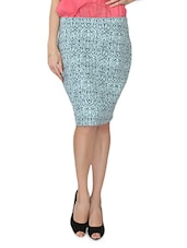 Blue Printed Cotton Blend Pencil Skirt - From The Ramp