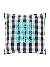 Navy Blue And White Chequered Cotton Cushion Cover - Blueberry Homes