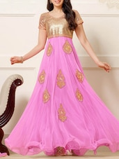 Pink Flared Suit Set With Embroidery - Thankar