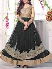 Black Embroidered Anarkali Suit Set - Thankar