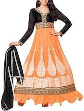 Black & Orange Embroidered Georgette Anarkali Suit Set - Whatshop