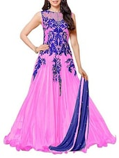 Pink Long Gown Style Anarkali Suit Set - Whatshop